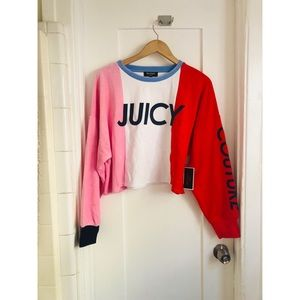 Juicy Couture colorblock crop sweatshirt pullover